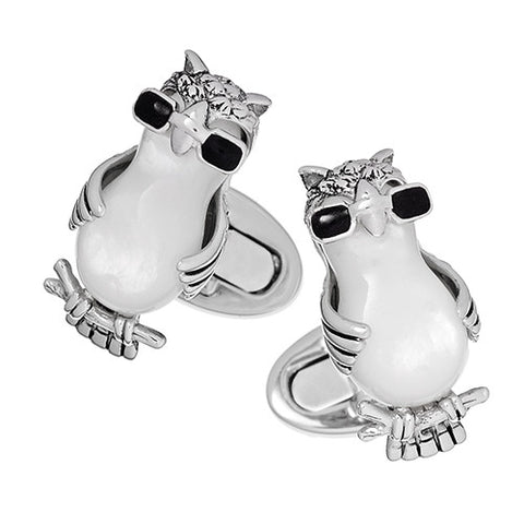 Owl Cufflinks with Mother-of-Pearl and Cool Sunglasses