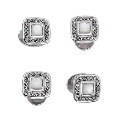 Gemstone Square Tuxedo Studs with Faceted Rims - Jan Leslie Cufflinks and Accessories