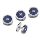Blue Agate Gemstone Button Tuxedo Studs by Jan Leslie