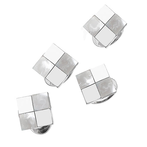 Mother-of-Pearl and Silver Checkered Tuxedo Studs