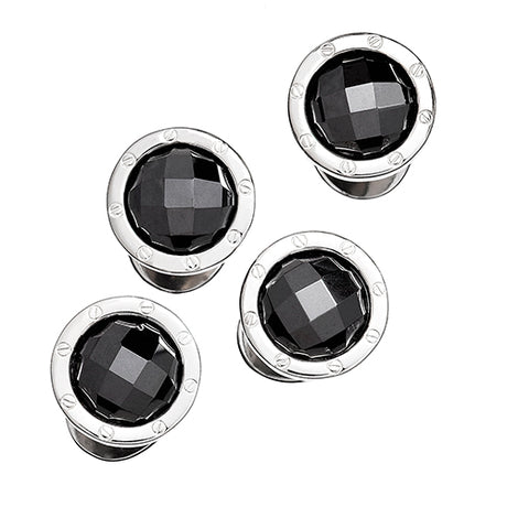 Faceted Hematite Rivet Tuxedo Studs - Jan Leslie Cufflinks and Accessories