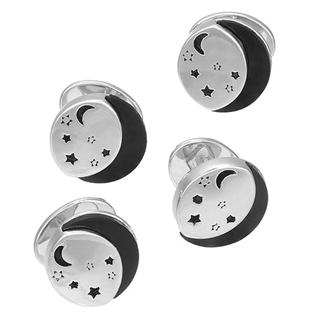Starry Starry Night Sterling Silver Tuxedo Studs