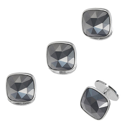 Faceted Hematite Soft Square Tuxedo Studs - Jan Leslie Cufflinks and Accessories