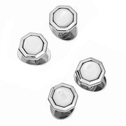 Classic Octagon Gemstone Sterling Silver Tuxedo Studs
