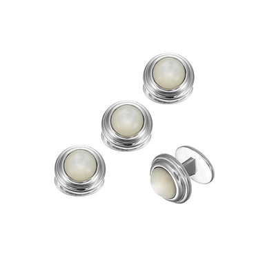 Round Gemstone Buttons with Thick Border Sterling Silver Tuxedo Studs Studs Only Jan Leslie Mother of Pearl Jan Leslie