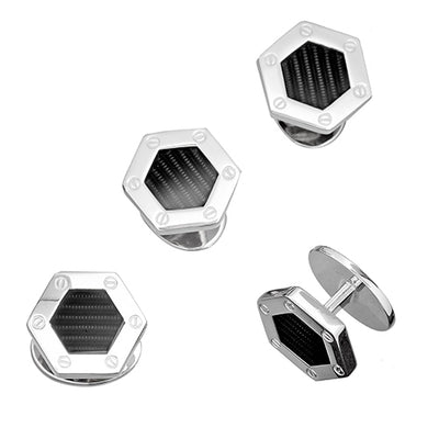 Black Enamel Hexagon Screw Stud Set - Jan Leslie Cufflinks and Accessories
