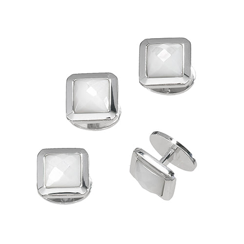 Faceted Mother-of-Pearl Stud Set Only - Jan Leslie Cufflinks and Accessories