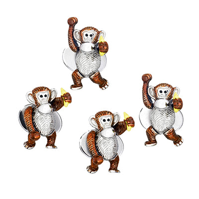 Monkey with Banana Stud Set Only - Jan Leslie Cufflinks and Accessories