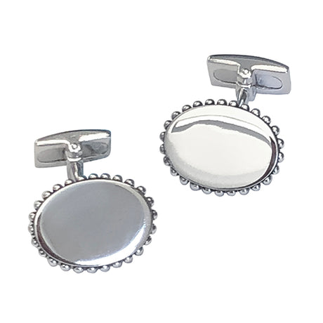 Oval Sterling Silver Cufflinks with Ruffle Frame