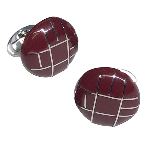 Italian Enamel Button Sterling Silver Cufflinks