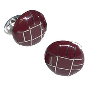 Painted Enamel Button Sterling Silver Cufflinks