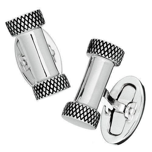 Jan Leslie Silver Bar Cufflinks with Antique Edges