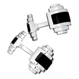 Jan Leslie Silver and Black Onyx Art Deco Cufflinks