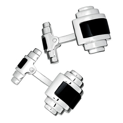 Silver Art Deco Double Sided Rectangle and Onyx Cufflinks