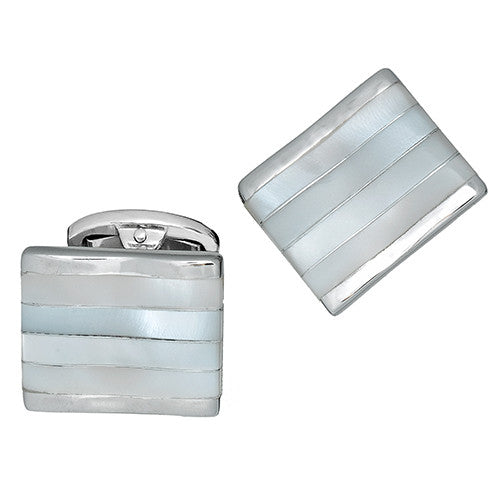 Jan Leslie Mother-of-Pearl Striped Cufflinks