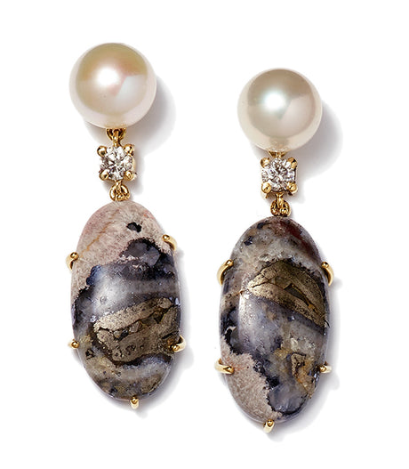 Bespoke 2-Tier 18k Pearl, Diamond, & Celestrobarite Earrings - Jan Leslie Cufflinks and Accessories