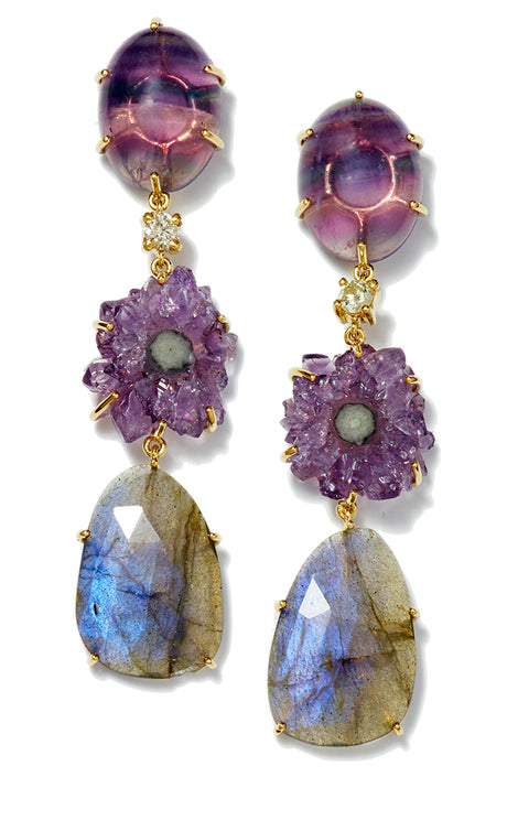 Bespoke 3-Tier 18k Fluorite, Diamond, Amethyst Stalactite & Labradorite Earrings - Jan Leslie Cufflinks and Accessories