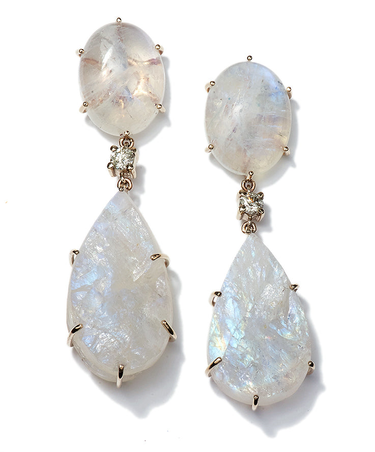 Bespoke 2-Tier 18k Moonstone Cabochon, Diamond & Raw Moonstone Earrings - Jan Leslie Cufflinks and Accessories