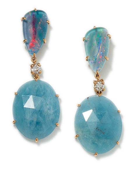 Bespoke 2-Tier 18k Opal Triplet, Diamond & Aquamarine Earrings - Jan Leslie Cufflinks and Accessories