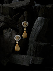 Bespoke 2-Tier 18k Gold Jasper, Diamond & Yellow Agate Earrings - Jan Leslie Cufflinks and Accessories