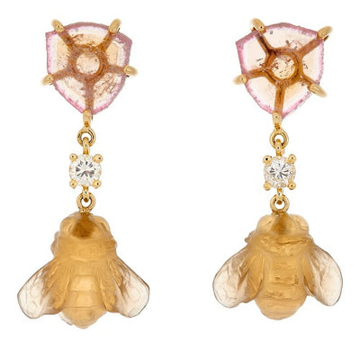 18k Seronera Bee One of a Kind Earrings Bespoke Earrings Jan Leslie Jan Leslie