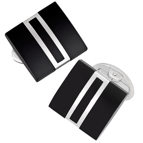 Art Deco Baguette Cufflinks in Onyx and Sterling Silver - Jan Leslie Cufflinks and Accessories