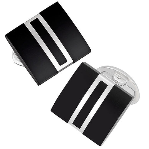Art Deco Baguette Cufflinks in Onyx and Sterling Silver
