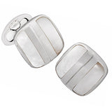 Art Deco Cushion Cufflinks with Mother of Pearl Stripe by Jan Leslie