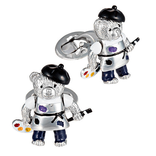 Artist Teddy Bear Cufflinks by Jan Leslie