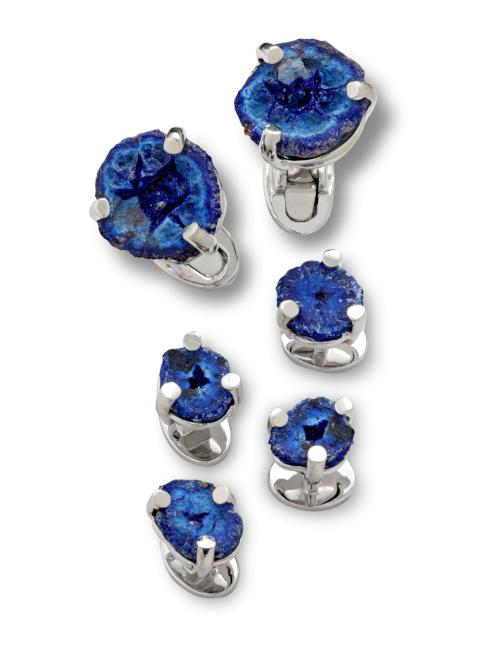 Azurite Sterling Silver Cufflink and Stud Set - Jan Leslie Cufflinks and Accessories