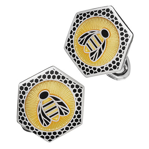 Enamel Bee Hive Cufflinks