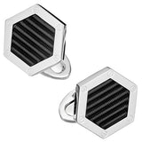 Black Enamel Hexagon Screw Cufflinks by Jan Leslie