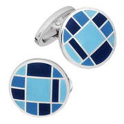 Tonal Blue Checkered English Enamel Cufflinks by Jan Leslie