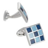 Blue Checkered Square Cufflinks by Jan Leslie