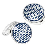 Blue Button Grid Patterned English Enamel Cufflinks by Jan Leslie