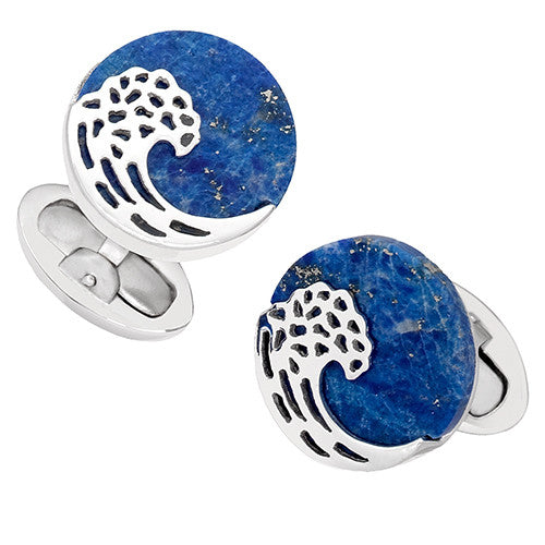 Blue Lapis Button Cufflinks with Laser Cut Wave by Jan Leslie