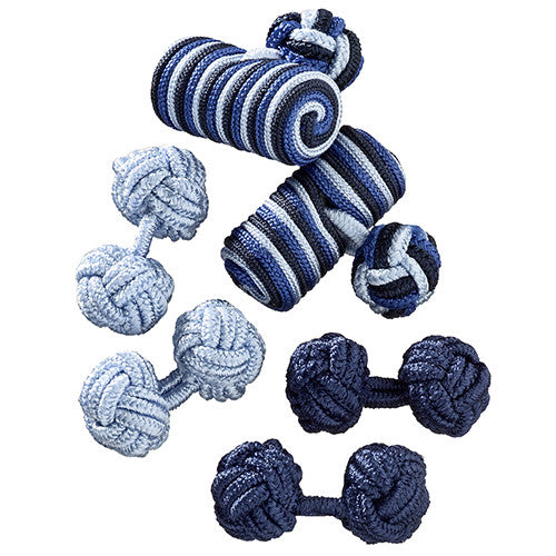 Blue Silk Knot Cufflink Curation by Jan Leslie