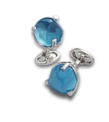Blue Topaz Sterling Silver Cufflinks - Jan Leslie Cufflinks and Accessories