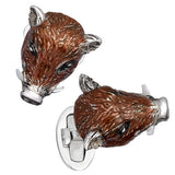 Brown Enamel Boar's Head Cufflinks by Jan Leslie
