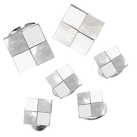 Mother-of-Pearl and Silver Checkered Tuxedo Set - Jan Leslie Cufflinks and Accessories