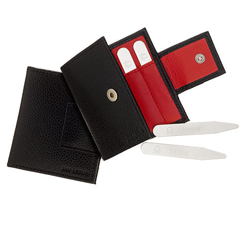Bones Collar Stays Gift Pack with Leather Case - Jan Leslie Cufflinks and Accessories