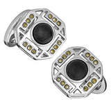 Octagon Cufflinks with Onyx and Marcasite Accents by Jan Leslie