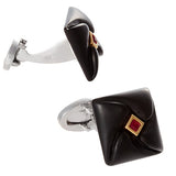 Diamond Pattern Carved Onyx and Austrian Crystal Cufflinks by Jan Leslie
