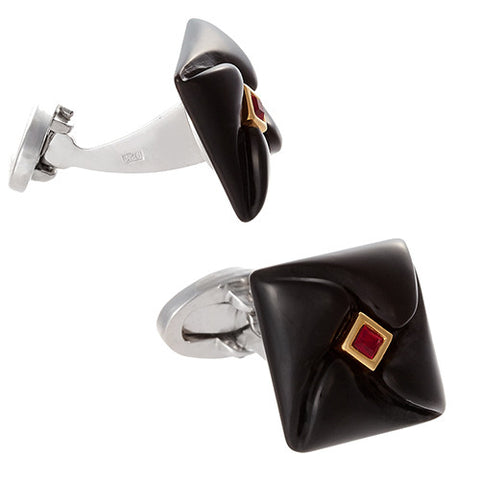 Carved Onyx and Austrian Crystal Cufflinks