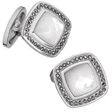 Mother-of-Pearl Gemstone Square Cufflinks with Faceted Rims by Jan Leslie