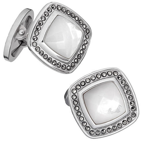 Gemstone Square Cufflinks with Faceted Rims