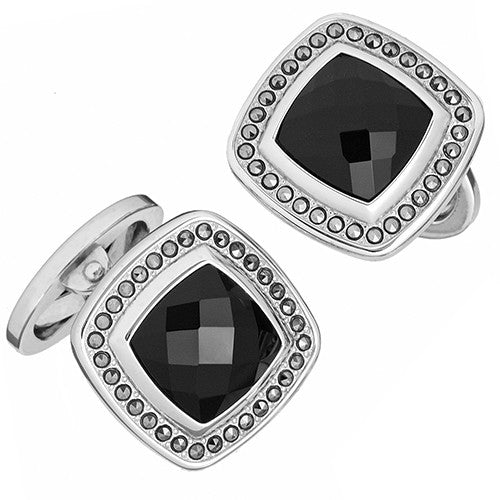Black Onyx Gemstone Square Cufflinks with Faceted Rims by Jan Leslie