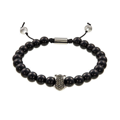 Beaded Pave Frog Bracelet in Grey Hematite by Jan Leslie
