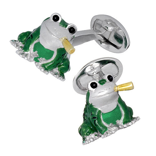 Frog and Cigar Cufflinks Enamel and Sterling Silver Cufflinks by Jan Leslie