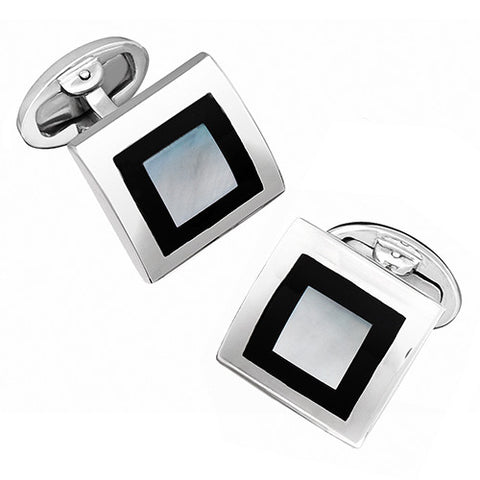 Cubed Square Cufflinks in Sterling Silver and Gemstones